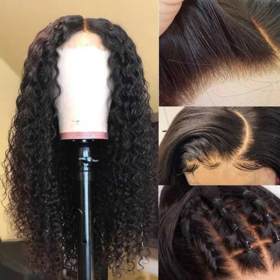 150% предварительно сорванный поддельный парик для головы 6 дюймов глубокий раскол кудрявые бразильские волосы remy 13x6 человеческие волосы парики невидимые узлы
