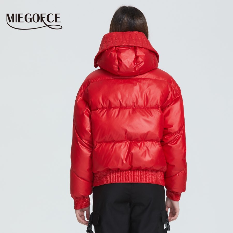 MIEGOFCE 2020 New Design Winter Coat Women's Jacket Insulated Cut Waist Length With Pockets Casual Parka Stand Collar Hooded 4