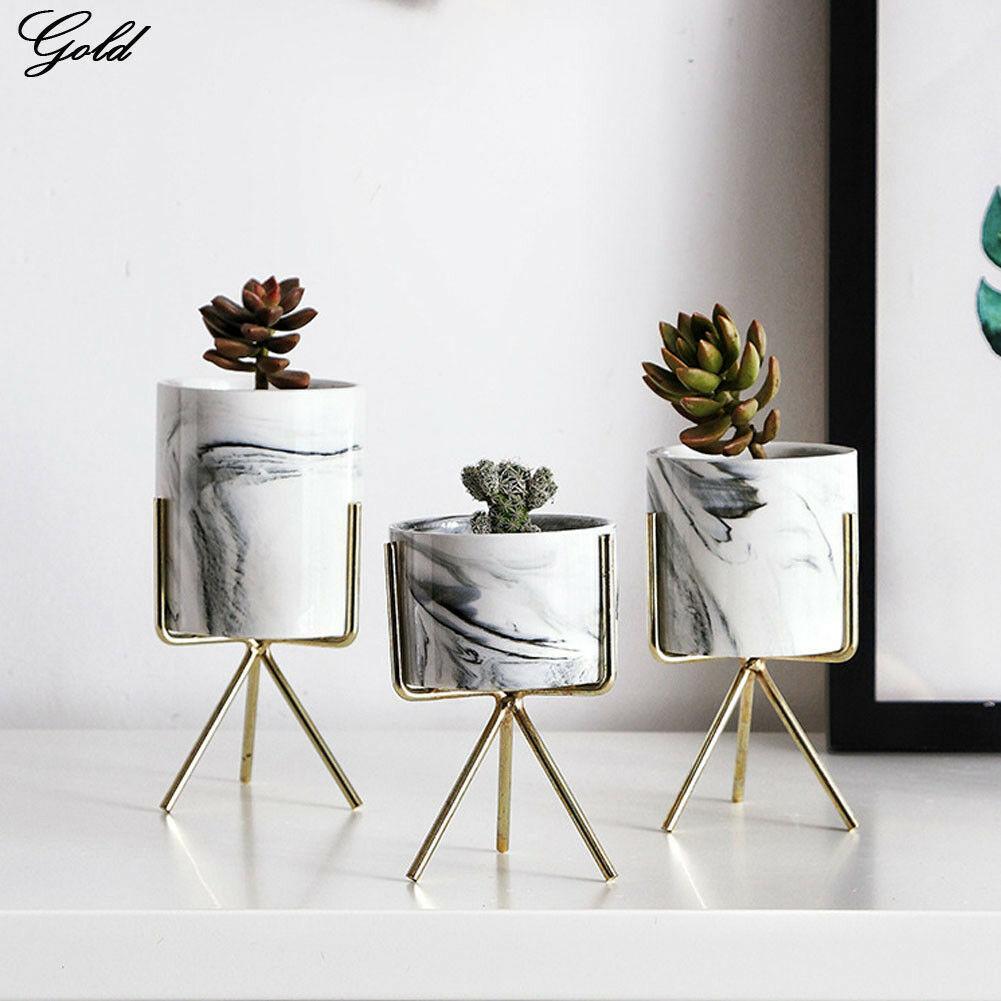 Metal Ceramic Planter And Iron Stand Garden Flower Plant Vase Succulent Pot Rack
