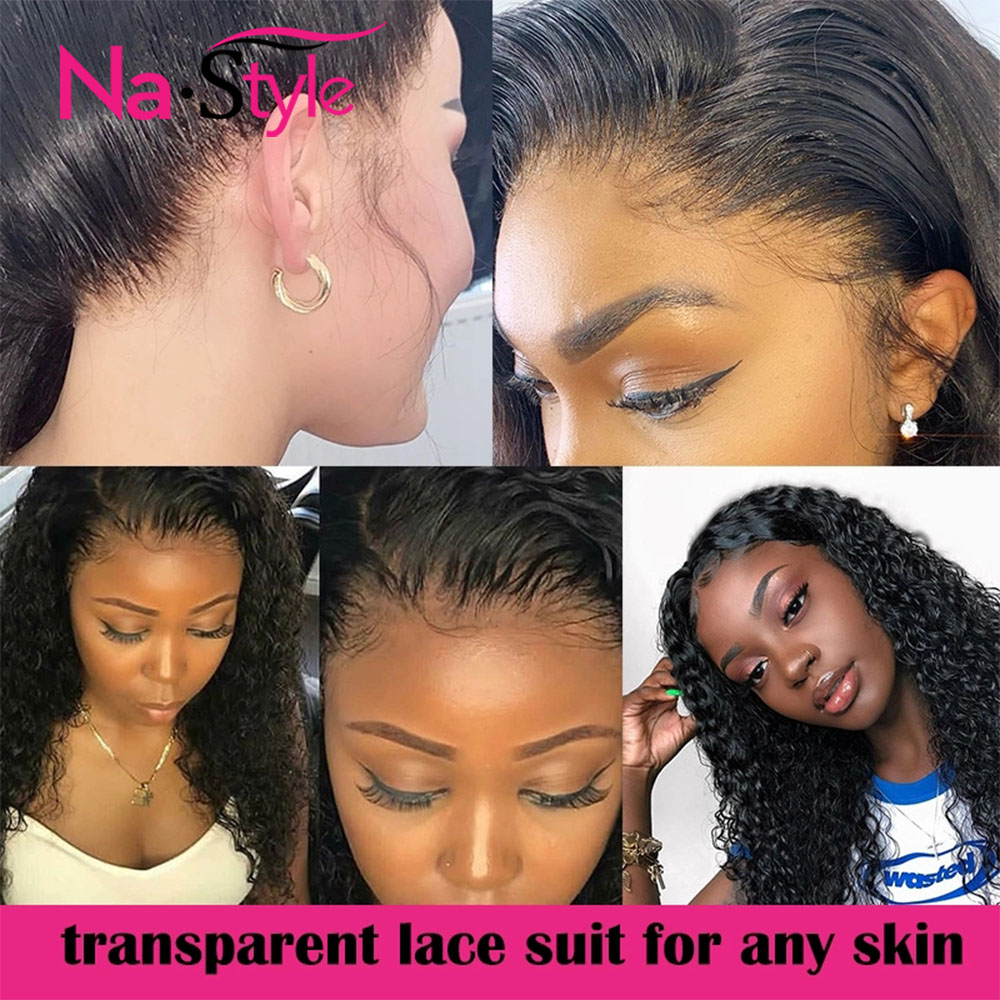 HD Transparent Invisible Lace Wig 360 Lace Frontal Human Hair Wigs Curly Long Preplucked Bleached Knots Natural Peruvian Remy - 2