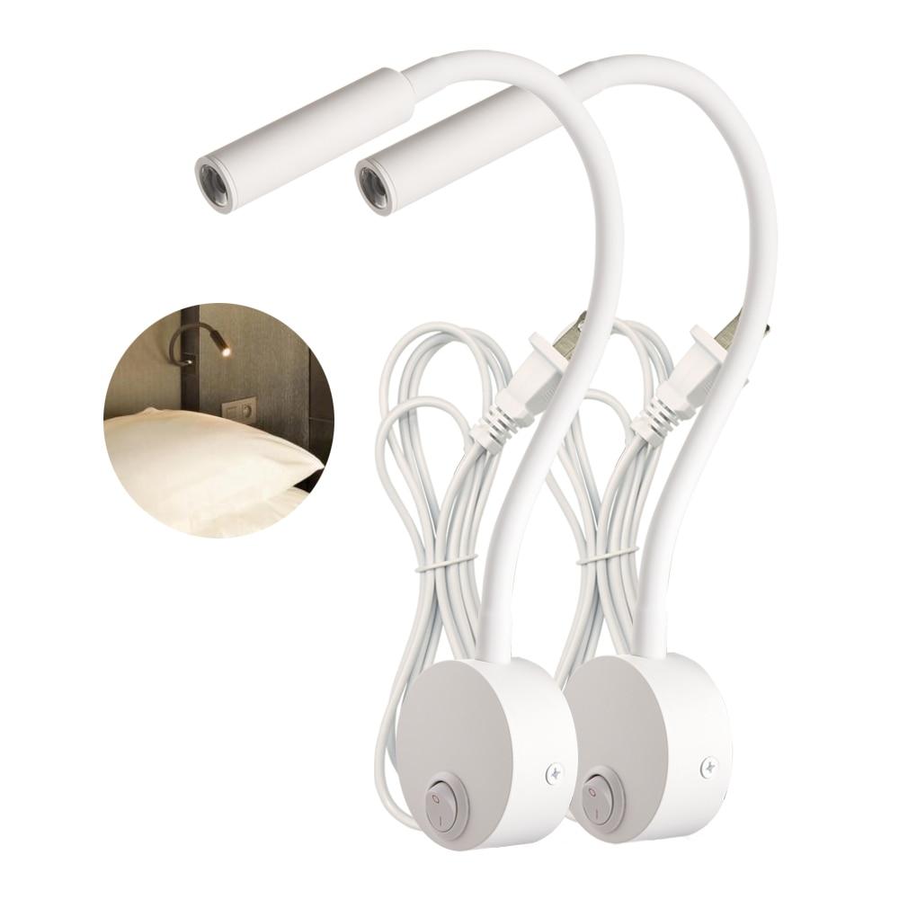 Настенный светильник для чтения, 2 шт., 3 Вт, белый, серебристый, черный