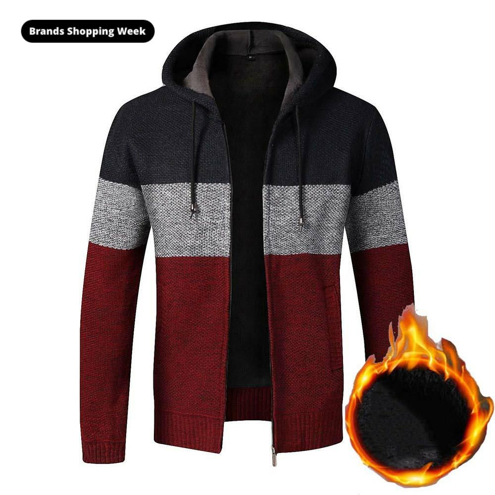 FALIZA Mens Sweater Coat Thick Warm Zipper Wool Hooded Cardigan Jumpers Men Striped Coat Long Sleeve Knitted Wool Sweaters XY106