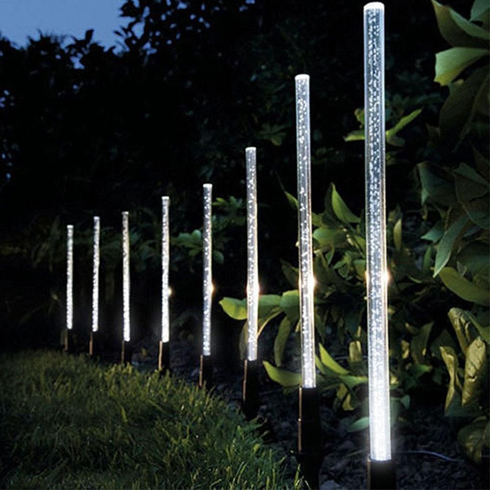 Luzes solares do jardim ao ar livre, 1 conjunto do tubo solar luzes da bolha acrílica solar luz impermeável rgb cor em mudança luzes solares do diodo emissor de luz