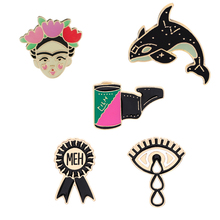 Mexican Artist Dolphin eye film badge hard enamel lapel pin set Backpack hats tote bag accessories