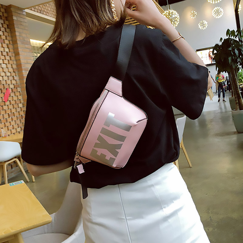 Fashion Waist Bags Women Letter Pattern Fanny Pack Ladies Belt Bag Pu Leather Chic Female Crossbody Chest Pack Money Belt Wallet