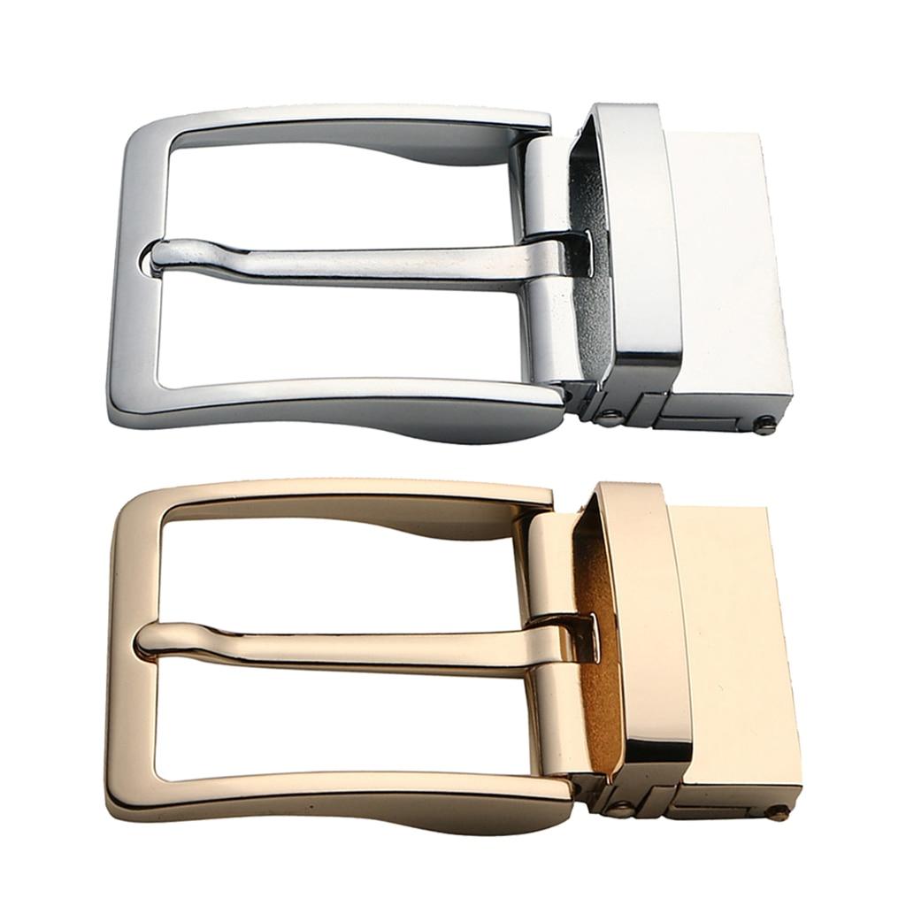 2x Alloy Reversible Belt Buckle Single Prong Rectangular Leather Belt Buckle Men's Single Pin Buckle Leather Belt Accessory