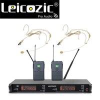 Leicozic LC-39 kablosuz mikrofonlu kulaklık mikrofon sistemi PLL çift kulaklık kablosuz mikrofon uhf 615-655Mhz kapsül mikrofon