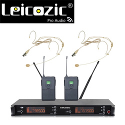 Leicozic LC-39 wireless microphone headset mic system PLL dual headset wireless microfone uhf 615-655Mhz capsule microphone