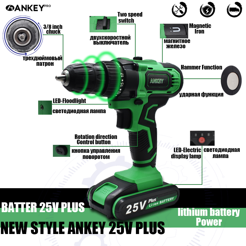 Tools : 25V Electric Drill Cordless Screwdriver Lithium Battery Two Speed Power Tools 17 1 Torque Settings Mini Wireless Power Driver