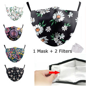 PM2.5 filter mask Flower Print Face Mask For Women Protective Dust Mouth Mask Washable Reusable Mouth Cover Fashion Fabric Masks