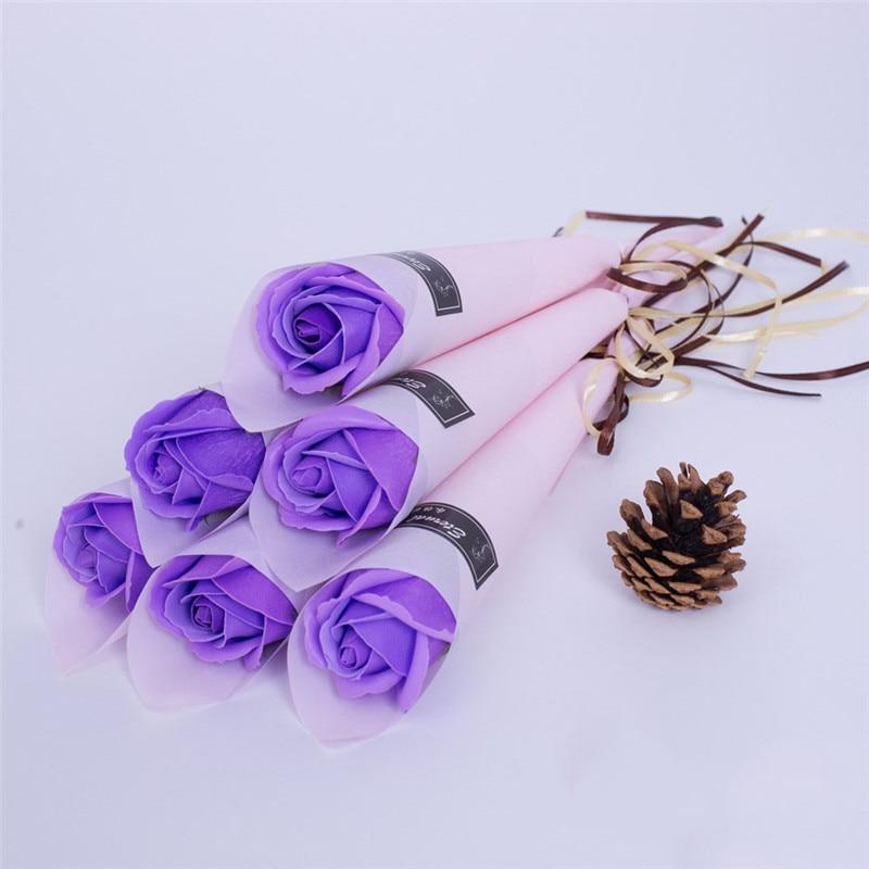 Мыло цветок розы искусственный цветок букет многоцветная Роза свадебный цветок украшение Скрапбукинг искусственный цветок Роза - Цвет: Medium purple 1pc