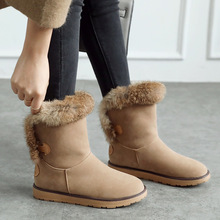 Female Winter Boots Women Shoes Flat Warm Fur Ankle Snow 2019 Fashion Bota Booties