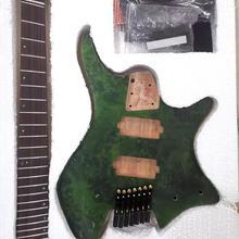 Krait безголовая гитара fanned fret 7 Струнная полуотделка DIY гитара burl Топ корпус из красного дерева