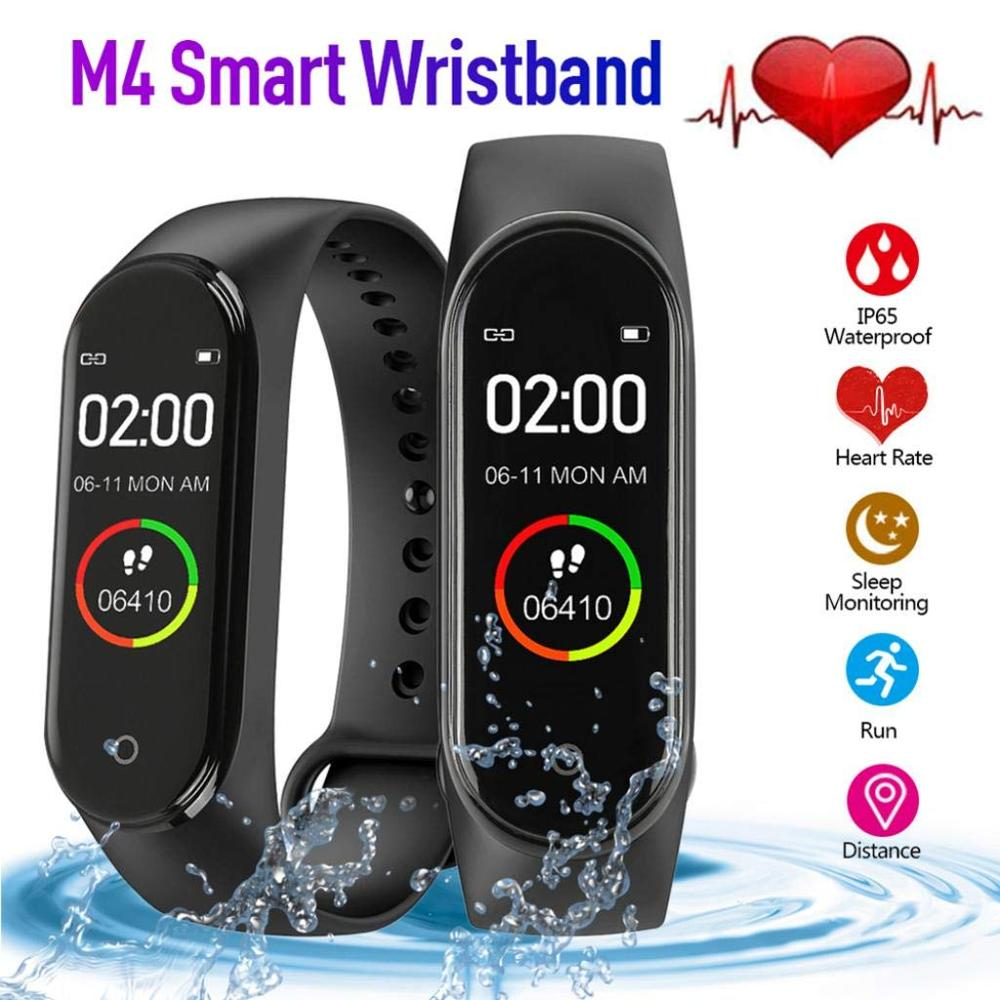 M4 Smart Bracelet Heart Rate Touch Screen Fitness Tracker Bluetooth IP67 Waterproof Sports Smart Watch Wristband for Men Women