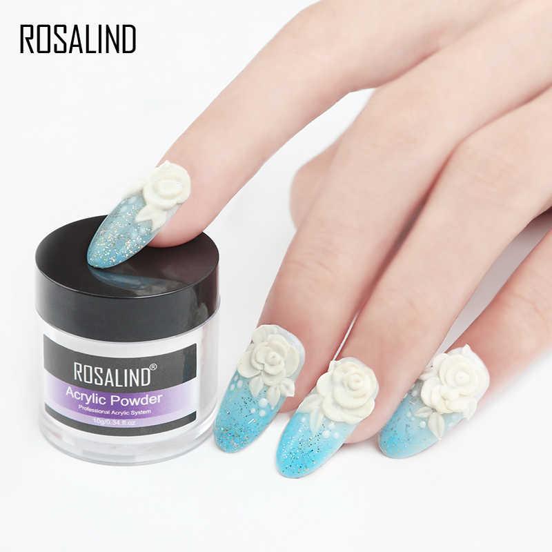 ROSALIND Kit de uñas acrílicas talladas en polvo de cristal Poly Gel para la extensión de uñas herramientas de construcción juego de manicura juego de polvo Acrílico