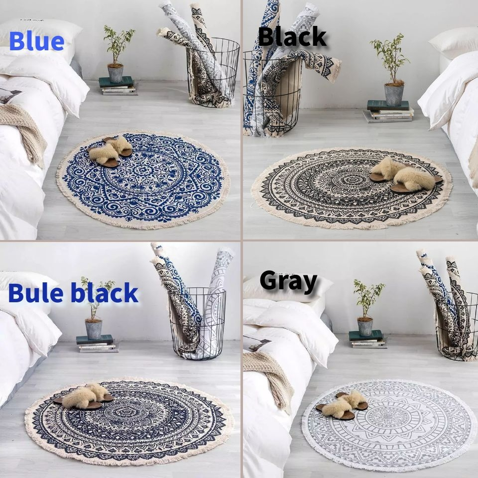 Image 5 - Morocco Round Carpet Bedroom Boho Style Tassel Cotton Rug Hand Woven National Classic Tapestry Sofa Cushion Tatami Floor MatsCarpet   -