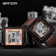 SANDA Sport Watch Men Digital 3bar Waterproof Square Clock C