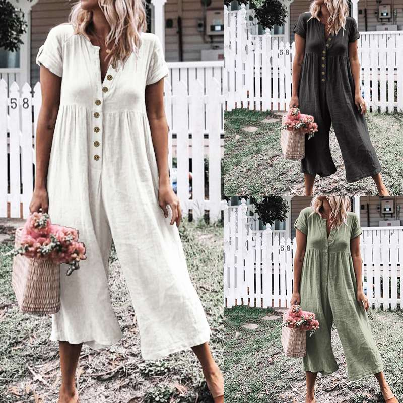 Celmia Plus Size Summer Jumpsuits Women Vintage Rompers Casual Solid Buttons Playsuits Short Sleeve Loose Wide Leg Pants Overall