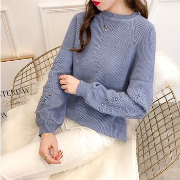 Ailegogo Womens Sweaters 2019 Autumn Winter Beaded Tops O Neck Women Soft Warm Pullover Jumper Knitted Sweater Knitwear 2