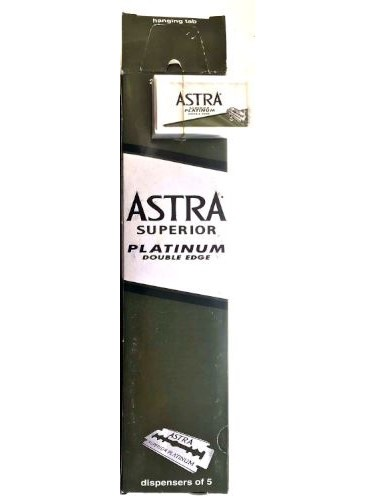 VINTAGE Souvenir 1980-2000 100 Piece Old Astra Superior Platinum Double Edge Safety Razor Blades GREEN Long Pack Rare