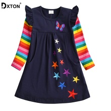 купить Dxton Girls Long Sleeve Dress Children Winter Clothing Rainbow Kids Dresses Butterfly Dress for Girls Baby Girl Clothes 2-8 Year дешево