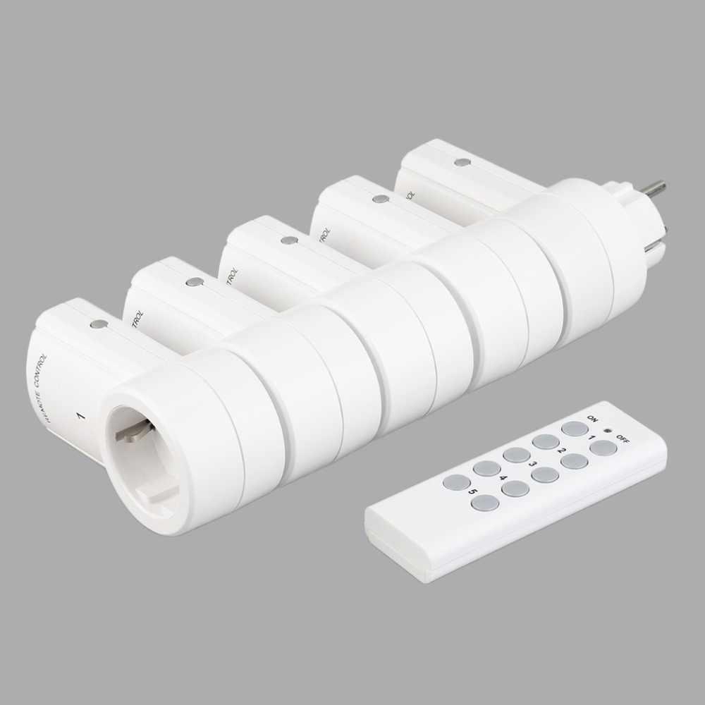 5 bezprzewodowy przełączniki gniazdo zdalnego sterowania wtyczki elektryczne adapterów gniazd zasilania z pilotem ue wtyczka
