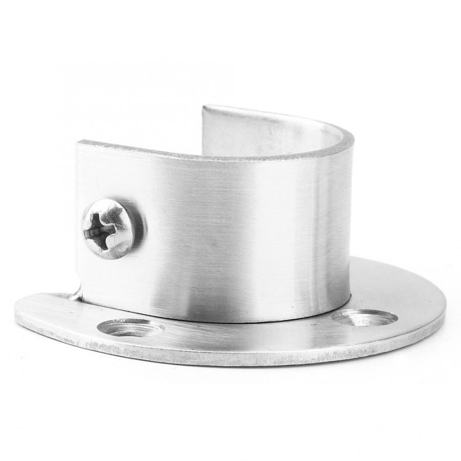 4 Pcs 25mm Stainless Steel Durable Towel Tube Flange Seat for Wardrobe Rod