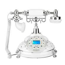 MS-8315A teléfono fijo de estilo Retro europeo, piedras preciosas plateadas, para el hogar y la oficina, teléfono Vintage, luz de fondo
