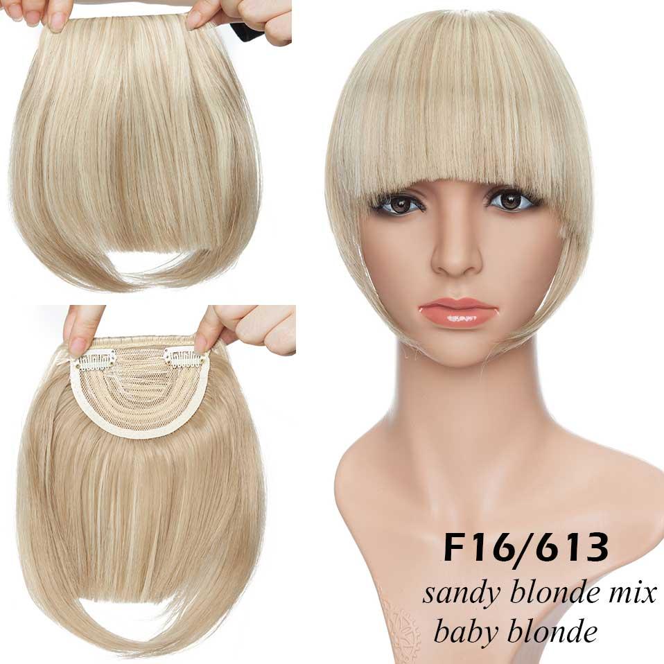 SNOILITE короткие передние тупые челки Клип короткая челка волосы для наращивания прямые синтетические настоящие натуральные накладные волосы - Цвет: 16-613