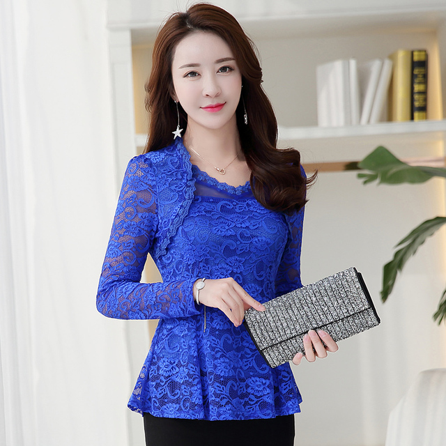 Plus Size M-4XL Lace Women clothing Pink Blusas 2021 New Lace Shirt Tops Female Elegant Long-sleeve Lace Women Blouse shirt 117F 13