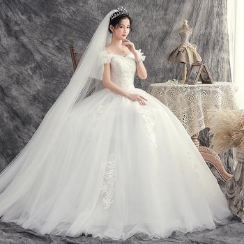 Suknie ślubne 2020 Bride Dream Plus rozmiar Lace Up suknie ślubne suknie balowe suknie ślubne hafty tanie i dobre opinie Lifeglad Boat neck Krótki Siatka nitki NONE Długość podłogi Off the Shoulder Kwiatowy Print WX20-10 Księżniczka Suknia balowa
