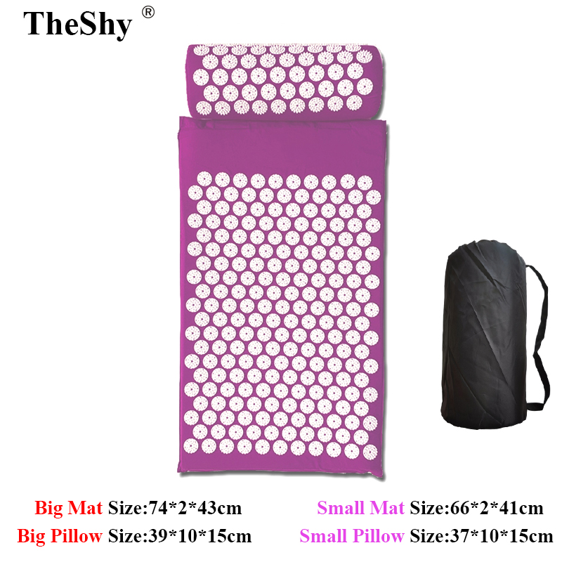 TheShy 74X2X43cm Acupuncture Massage Cushion Set Relieve Stress Neck Back Body Foot Massager Pain Acupressure Massage Mat Pillow