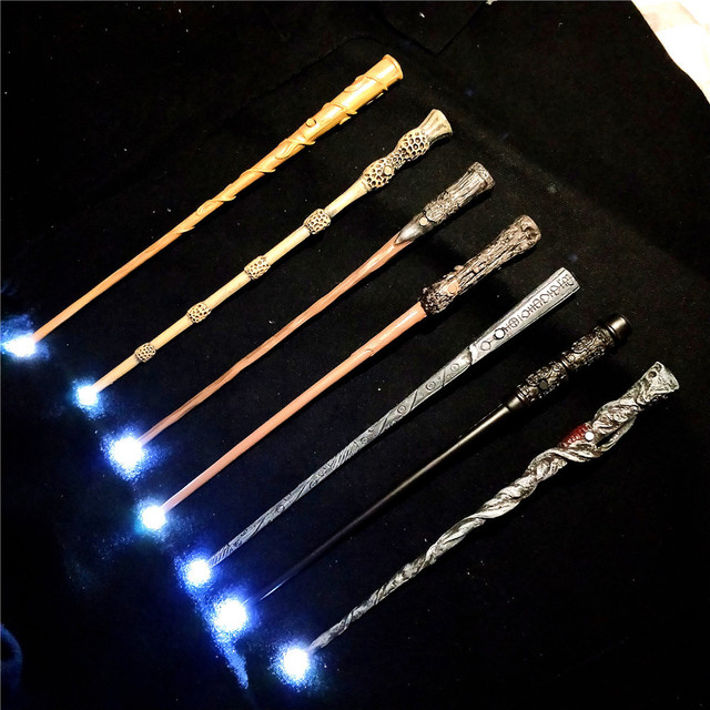 Harri Potter Wands Toys 36 CM Glowing Metal Magic Wand Hogwart Popular Gifts With Gift Box Cosplay Real Magic Effects Kid Toy