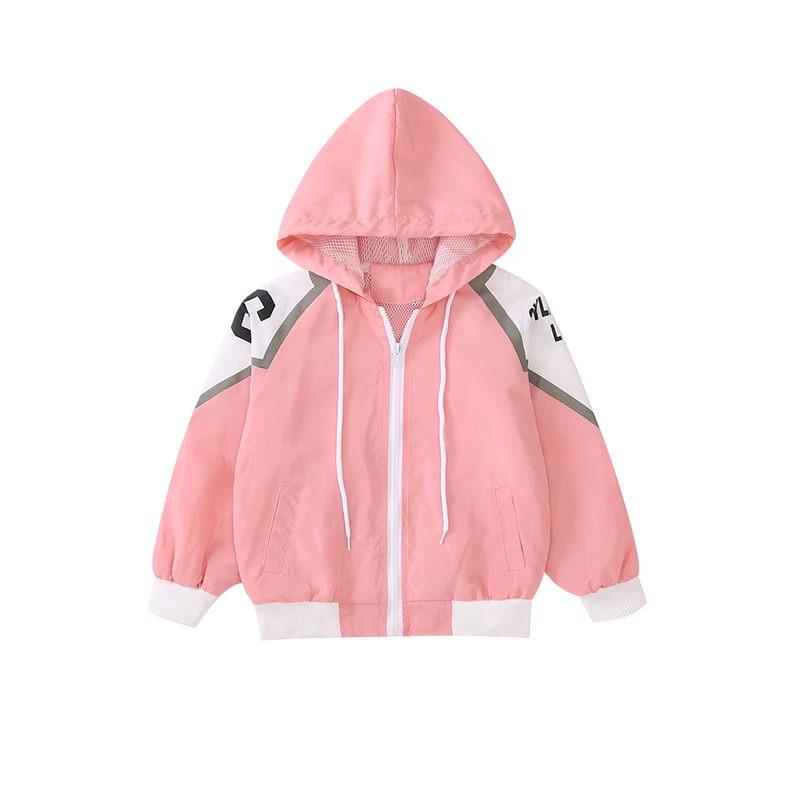 Купить с кэшбэком Girls Hoodies Coat New Spring Autumn Solid Zipper Sweatsuit 5-14Y Outerwear Kids Casual Windbreaker Letter Print Jackets Clothes