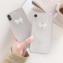 Japanese Retro Simple Lolita lace 3D bow cute Phone case silicone cover for coque iPhone 7 Plus 6 8 6s X XR xs max