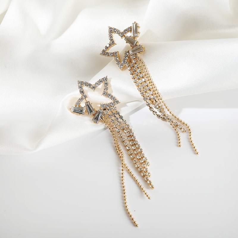 2020 Luxury Crystal Star Shiny Hyperbole Style Korean Women Drop Earrings Contracted Metal Chain Long Tassel Dangling Earring