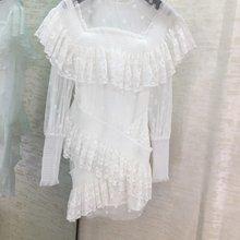 Новое Женское модное кружевное плиссированное платье с длинным рукавом и круглым вырезом 1127