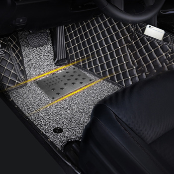 LEEPEE Auto Alloy Plate Silver Anti-skid Pad Car Floor Mat Non-slip Carpet Patch Foot Heel Scuff Plate Universal image
