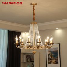 Vintage LED Crystal Chandeliers Black Industrial Lamp For Kitchen Dining Living room Light Nordic Art deco Bedroom plafon dorado