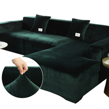 12 Colors Plush Sofa Cover Velvet Elastic Corner Sectional Sofa Covers for Living Room L Shape Seat Furniture Couch Slipcovers