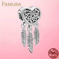 925 Sterling Silver Openwork Heart & Three Feathers Dreamcatcher Charm Beads fit Original Pandora Bracelet Necklace 925 jewelry