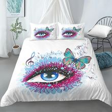 Постельное белье с мультяшными глазами бабочками музыкой symble