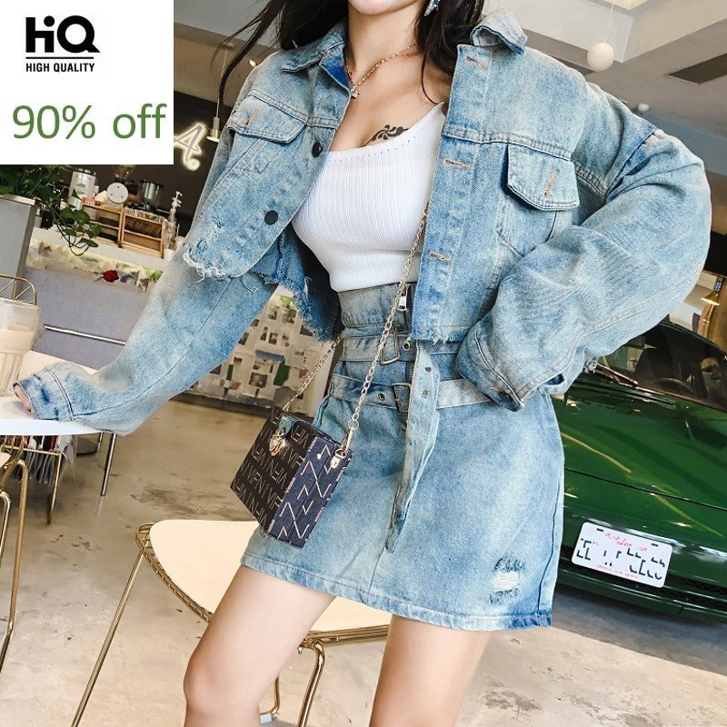 Spring New High Quality Women Two Piece Set Skirt Punk Style Single Breasted Short Denim Coat High Waist Hole Ripped Wrap Skirt
