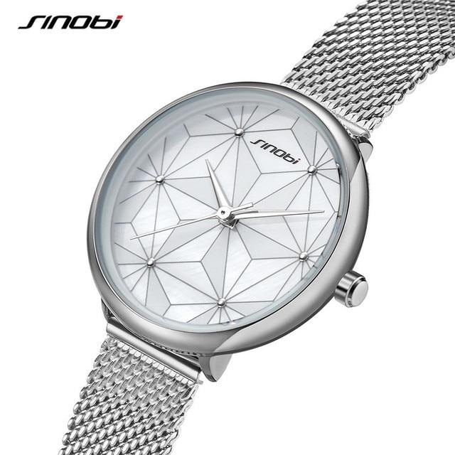 SINOBI Watch Women Fashion Silver Geometry irregular Creative Design Steel Analog Quartz Wristwatch For Ladies Girls Gift Watch