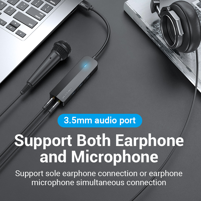 Vention USB 3.0 Hub 3 Ports USB Sound Card 2 in 1 External Stereo Audio Adapter 3.5mm with Headphone Microphone USB Sound Card 4