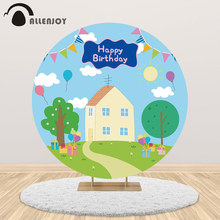 Allenjoy round backdrop cartoon pig house children birthday party decoration balloons custom background cover photocall prop allenjoy background photography wildlife jungle animal forest safari party boy kids birthday round backdrop cover photocall