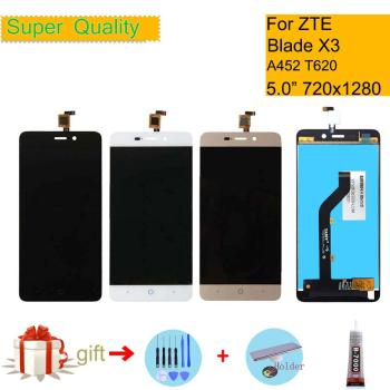 Original For ZTE Blade X3 D2 T620 A452 LCD Display LCD Sreen +Touch Screen Touch Digitizer Assembly Complete Replacement highest quality for zte blade z7 x7 v6 d6 t660 t663 lcd screen display touch screen digitizer assembly free shipping