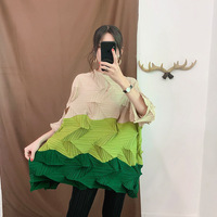 Issey Miyake Runway Colthing Multicolor Contrast Pleats T shirt Irregular Women Tees Fashion Loose Female Tops Spring