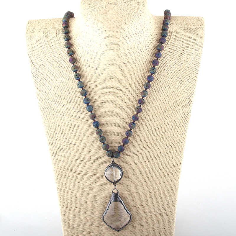 Moda czeski Tribal biżuteria kamienie lawy długim wiązane szkła klon Leav wisiorek naszyjniki kobiety naszyjnik Dropship