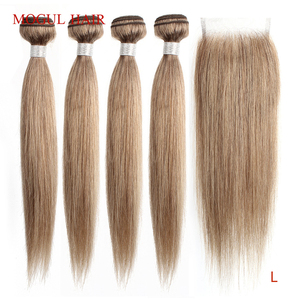 Image 1 - モーグル髪の色 8 灰ブロンドストレートバンドル閉鎖 16 24 インチ事前色ブラジル非レミーヘアエクステ